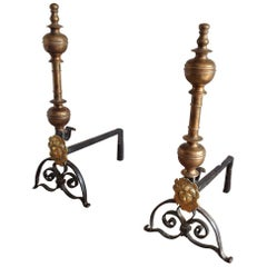 "Pair of Brass and Wrought Iron ""The Sun King"" Andirons, 18th Century"
