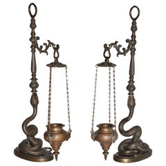 Pair of Figural Bronze Serpent Incense Burners Censers, 19th Century, Italy
