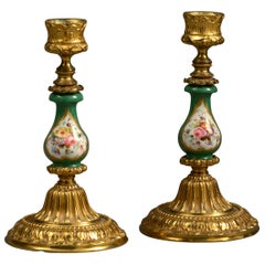 19th Century Pair of Sèvres and Ormolu Candlesticks