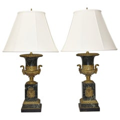 Pair of Marble and Bronze French Empire Style Urn Table Lamps Ram Head