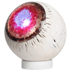 Small Lamp Eyeball Colorful Decorative Wood and Cast Glass Light Projection