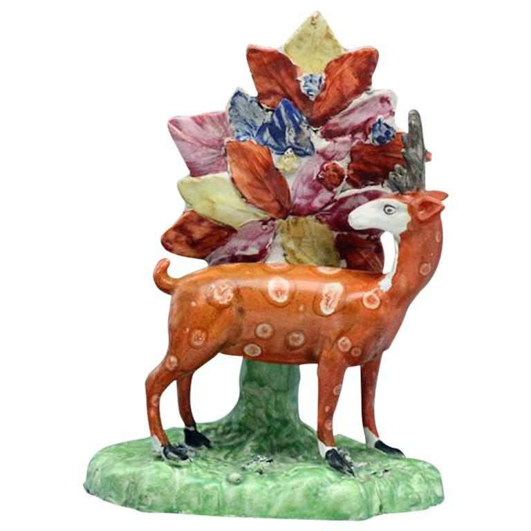 Staffordshire Pottery Pearlware Figure of a Standing Stag, circa 1820 For Sale
