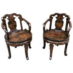 Paar Handbemalte Europäische Japonismus Stühle, Frühes 20. Jahrhundert