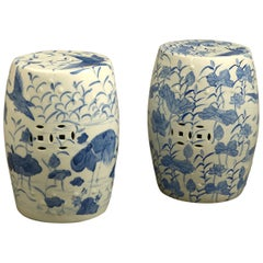 Close Pair of Mid-20th Century Blue and White Porcelain Garden Seats
