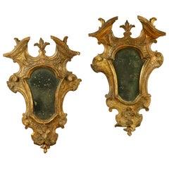 18th Century Pair of Venetian Giltwood Girandole Mirrors