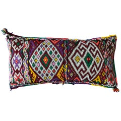 Vintage Handwoven Wool Moroccan Kilim Lumbar Pillow Decorative Tribal Design