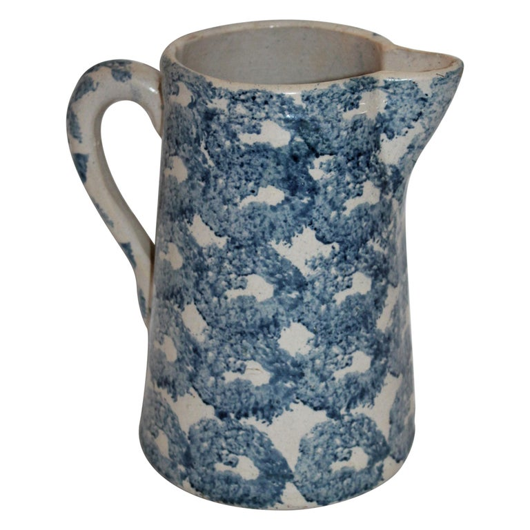 19th Century Sponge Ware Patterned Pitcher For Sale