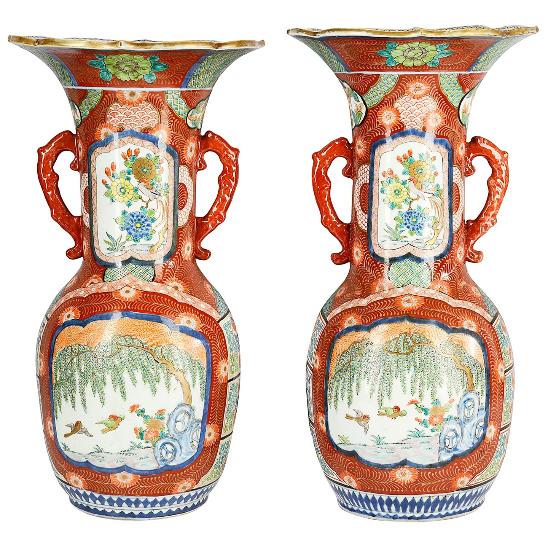 Large Pair Meiji Period Japanese Kutani Vases