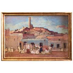 Orientalist Painting of a Market Scene by Gerard Huijsser, Dutch Antiques LA CA