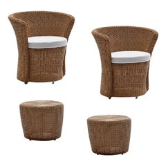 Set of 2 Contemporary Outdoor Dining Armchairs & 2 Coffee Tables in Woven Kamel