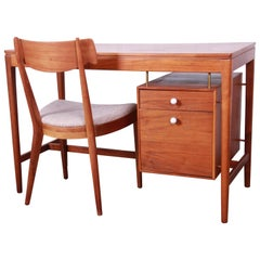 Kipp Stewart for Drexel Declaration Mid-Century Modern Walnut Desk and Chair