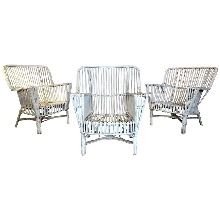 1930s American Stick Wicker Armchairs For Sale