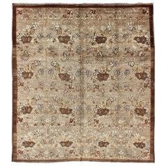Antique Turkish Tulu Carpet with Floral Design