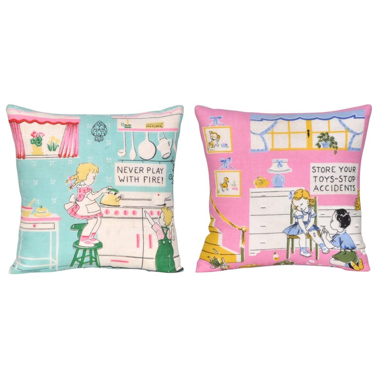Pair of Vintage Children's Scarf Cushions Pillows with Irish Linen Backing Pink For Sale