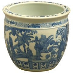 Mid-20th Century Blue and White Porcelain Jardiniere