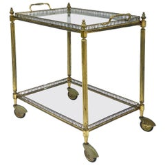 Bar Cart Drinks Cocktail Trolley Tray Top Midcentury Distressed Gilt Metal