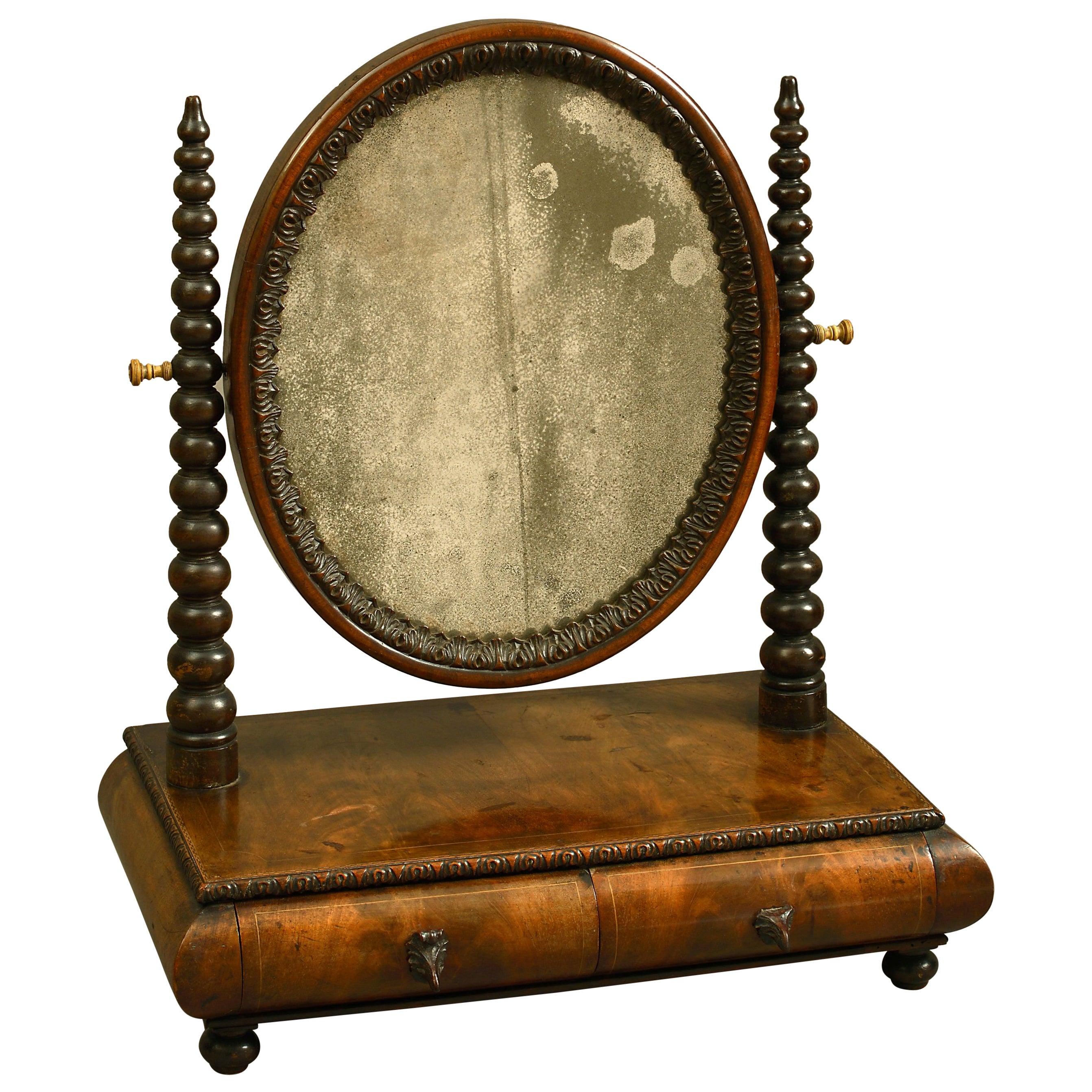 Mid-19th Century Victorian Walnut Dressing Table Mirror