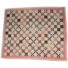 19th Century Antique Quilt, Postage Stamp Nine Patch Chain