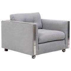 Midcentury Chrome Frame Armchair in the Style of Milo Baughman