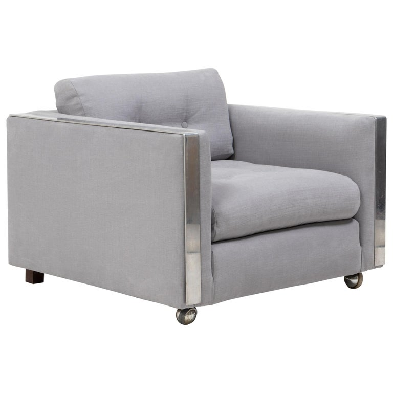 Midcentury Grey & Chrome Frame Armchair in the Style of Milo Baughman For Sale