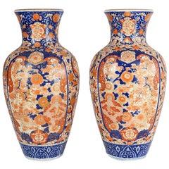 Pair Impressive 19th Century Japanese Imari Vases or Lamps