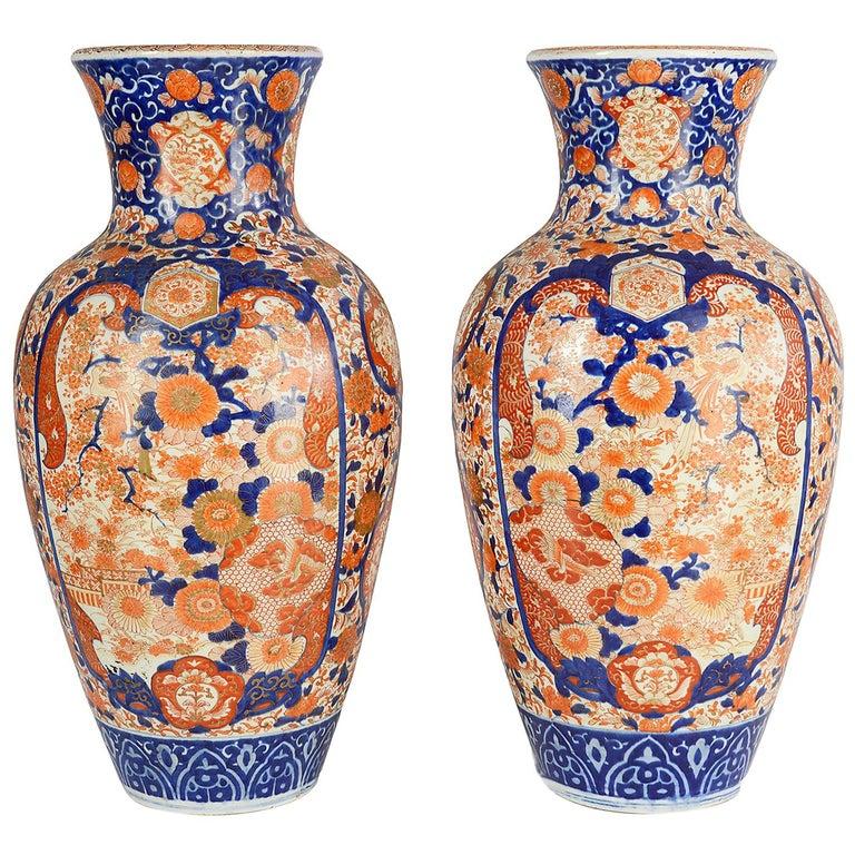 Pair Impressive 19th Century Japanese Imari Vases or Lamps For Sale
