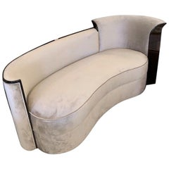 Art Deco French Curved Sofa in Walnut