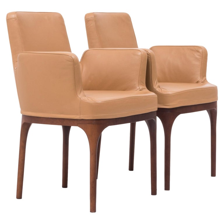 498f9bef75682 Midcentury Brown Leather Dining Chairs by Porada