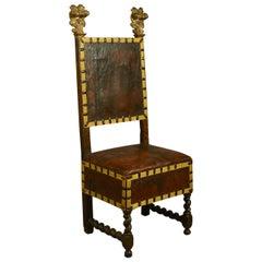 17. Jahrhundert Florentiner Vergoldeter Walnussholz Stuhl