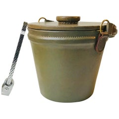 Green Midcentury Leather Ice Bucket or Cooler with Tong, 1960s