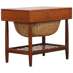 Mid-Century Modern Teak Sewing Table / Stand by Ejvind Johansson for Vitre, 1960
