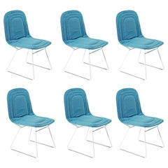 Set of Six, Contemporary Outdoor/Indoor Steel Framed Upholstered Dining Chairs