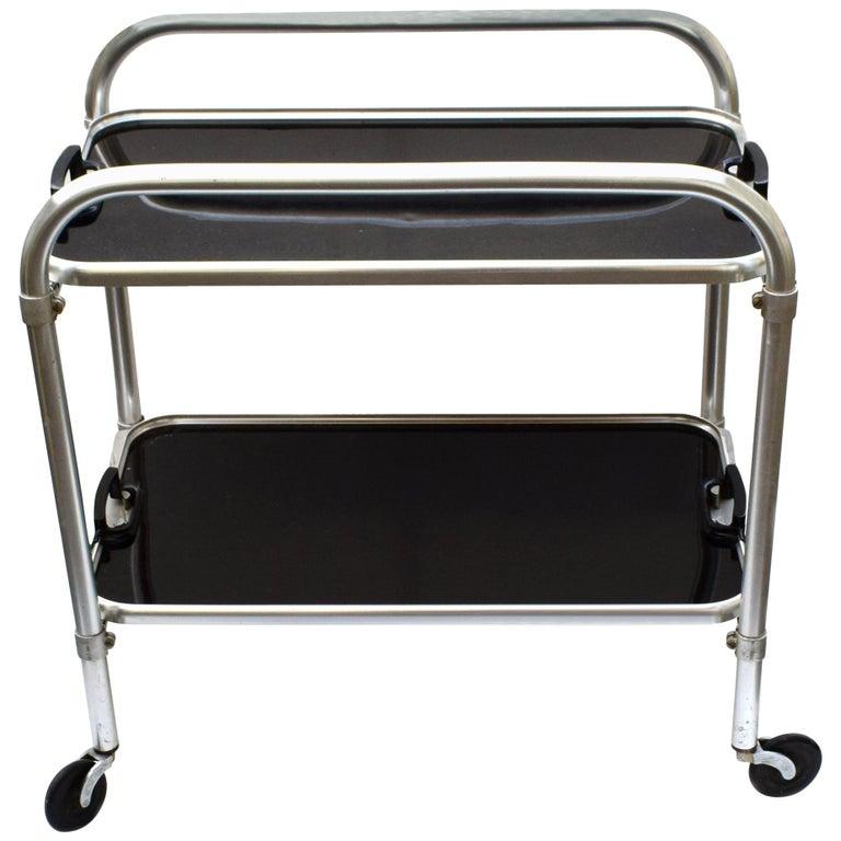 Art Deco Two-Tier Aluminium Hostess Bar Cart, circa 1930 For Sale