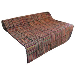 American Hand Hooked Runner Rug in a Log Cabin Pattern