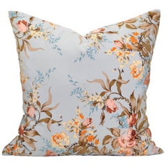 Vintage Silk YSL French Fabric Blue Pink Pillow Cushion Large with Irish Linen