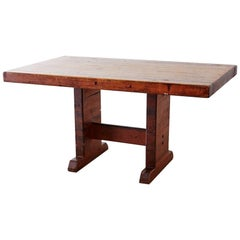 Rustic American Butcher Block Trestle Style Dining Table