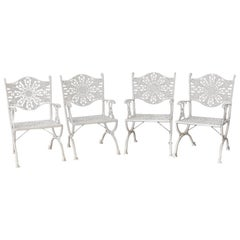 Set of Four Neoclassical Aluminum Garden Patio Chairs