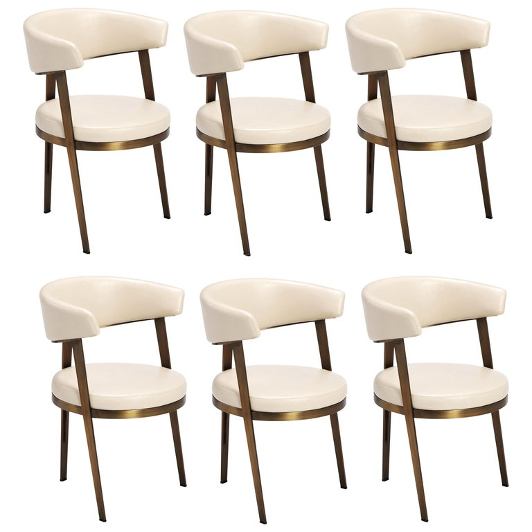 Set of Six, Celine Dining Chairs in Antique Bronze with Cream Leather For Sale