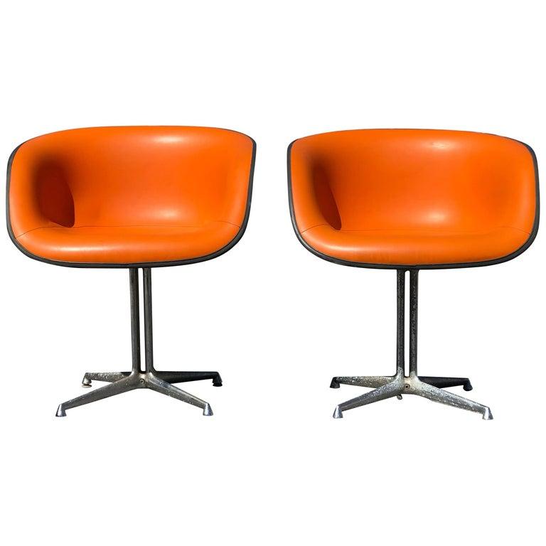 Pair of Tangerine Orange Eames La Fonda Chairs