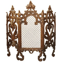 Antique Black Forest Firescreen from France, circa 1900