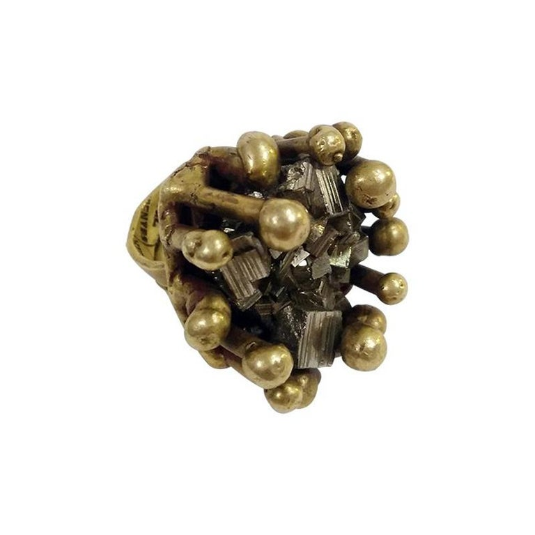 Pal Kepenyes Brutalist Bronze Ring with Pyrite For Sale