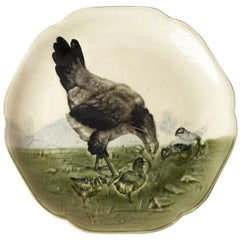 19th Century Majolica Hen and Chicks Plate Choisy Le Roi