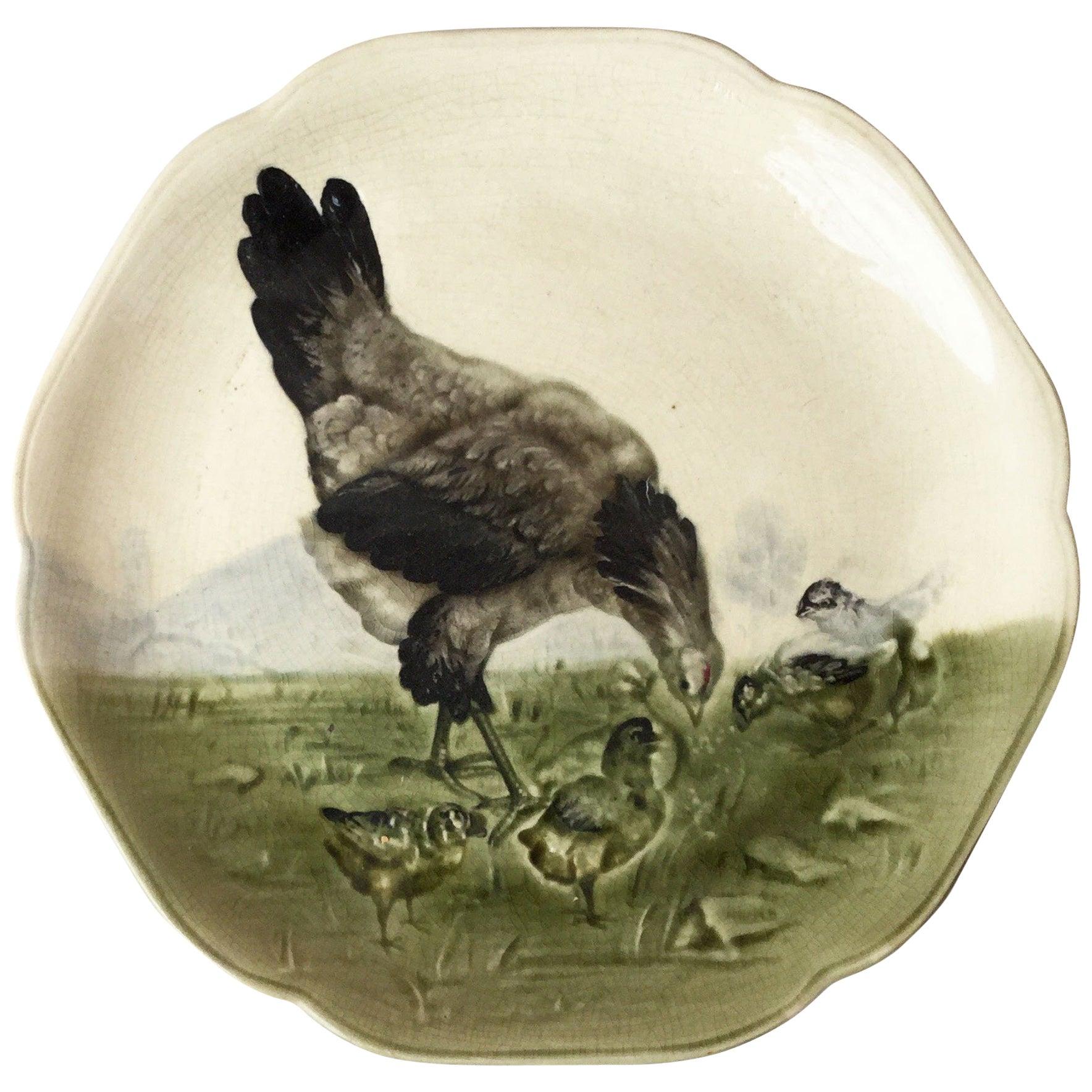 19th Century Majolica Hen and Chicks Plate Choisy Le Roi