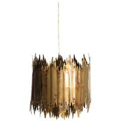 Tom Greene Brutalist Torch Cut Barrel Chandelier