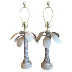 Vintage Pair of Metal Tole Palm Tree Leaf Frond Table Lamps