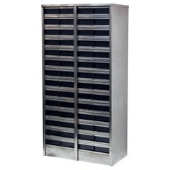 Large Industrial Burnished Steel Cabinet of Drawers