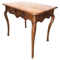 18th C. Provencal hand carved antique side Table Walnut Desk & Center Drawer LA