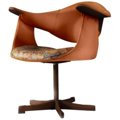 Kodawood Mid-Century Miami Modern Swivel Side Armchair Orange Club Lounge 1960s