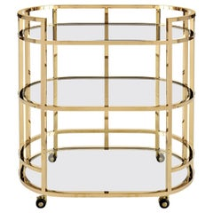 Contemporary Bar Cart with 3 Glass Shelves Finished in Polished Brass