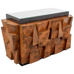 Paul Evans Studio for Directional Burl Wood Faceted Cabinet, USA, 1970s